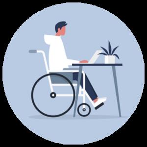 Une personne en situation de handicap consulte son dossier sur un ordinateur